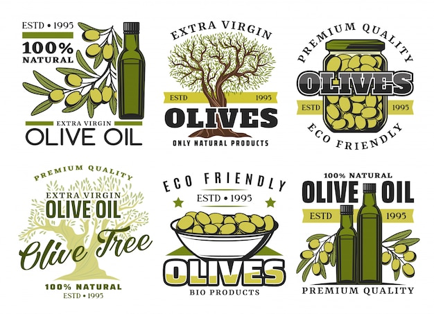 Productetiketten van olijfolie en groenten