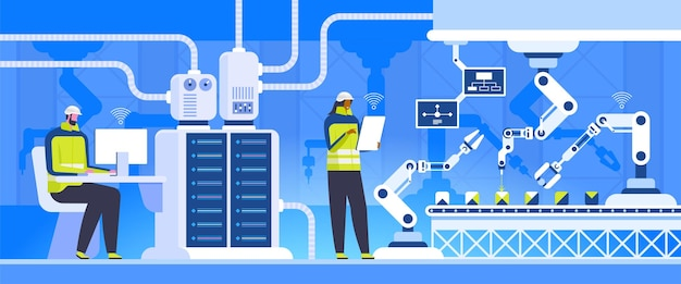 Productie controle platte vectorillustratie. productie-ingenieurs innovatieve technologieën
