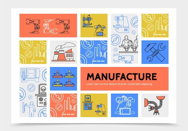 Productie infographic concept met robotarmen ingenieurs fabriek industriële machines moersleutel