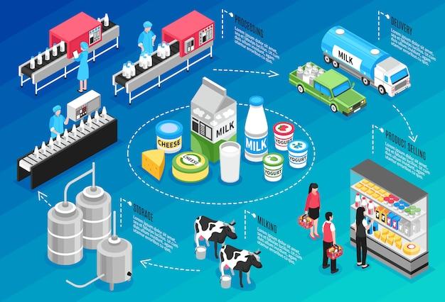 Productie leveren en verkopen van melk en kaasproducten isometrische infographics