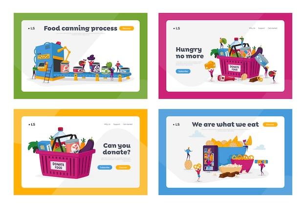Productie van ingeblikte producten en snacks sjabloon voor bestemmingspagina's