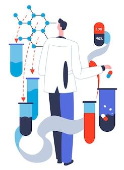 Productie van nieuwe medicijnen, pillen en capsules. onderzoeker met stoffen in laboratorium die experimenten uitvoert. farmacologie en farmaceutische industrie, gezondheidszorg en behandelingsvector in flat
