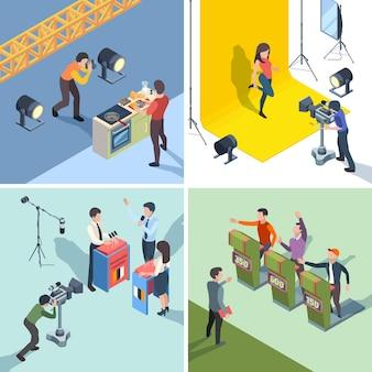 Productie van tv-programma's. digitale uitzending tv-quiz talkshow deelnemers vector isometrische set. studio productie digitaal, uitzending show televisie illustratie