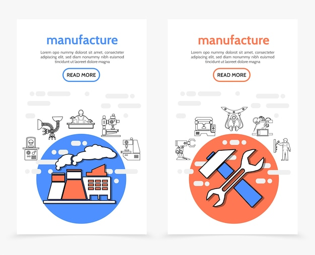 Productie verticale banners met fabrieksmoersleutel hamer industriële apparatuur machines ingenieur