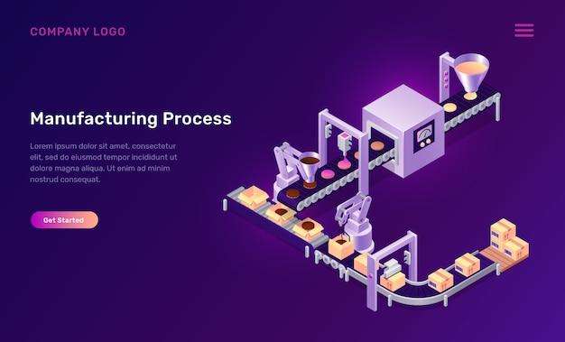 Productieproces cookies isometrische concept