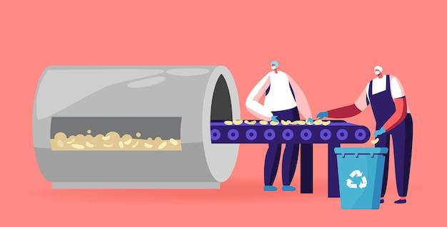 Productieproces van aardappelchips. werknemerskarakters die uniform dragen op fabriekstribune op transportband die gebakken chips sorteert. medewerkers op assemblagelijn op fabriek. cartoon mensen vectorillustratie