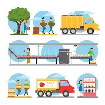 Productiestappen voor appelsap. van vers fruit tot sap in de winkel