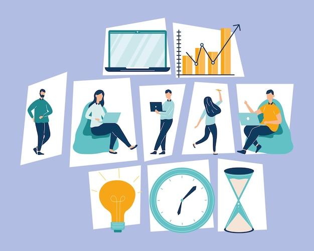 Productieve karakters van vijf personen werknemers