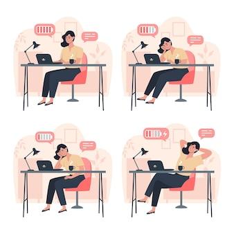 Productieve werker en vermoeide werker