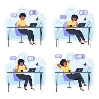 Productieve werknemer en vermoeide werknemer, productiviteit tijdens de werkdag, stress of burn-out