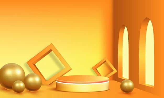Productinstelling podium goud en geel abstract minimalistisch geometrisch, objectplaatsing, productpresentatie, mock-up, show cosmetisch product, podium, podiumvoetstuk of platform achtergrondkamer