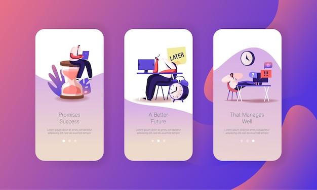 Productiviteit werken, tijd beheren mobiele app-pagina onboard-schermsjabloon