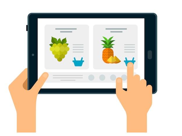 Productkaart op tablet met hand om online te bestellen