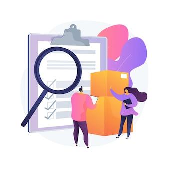 Productkwaliteitscontrole abstract concept illustratie. productveiligheidsnorm, feedback van klanten, garantiecertificaat, productielijn, zakelijk succes, inspectie