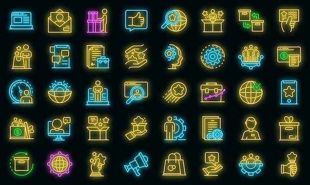 Productmanager pictogrammen instellen. overzichtsreeks productmanager vectorpictogrammen neonkleur op zwart