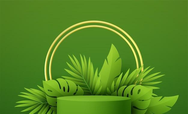 Productpodium met groenboek gesneden tropische monstera en palmblad op groene achtergrond