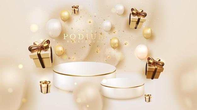 Productpodium met realistische geschenkdoos en ballonnen met gouden lintelement, 3d luxe stijlachtergrond. vector illustratie achtergrond ontwerp.