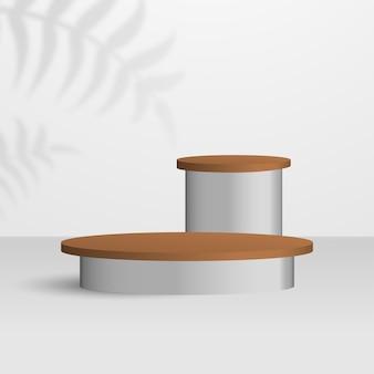 Productpodium met twee houten standaard op witte achtergrond, goed voor mode en cosmetica