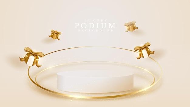 Productpodium weergeven met geschenkdoos en gouden cirkel glinsterende lijnelement, 3d luxe stijl realistische achtergrond, . vectorillustratie voor het bevorderen van verkoop en marketing.