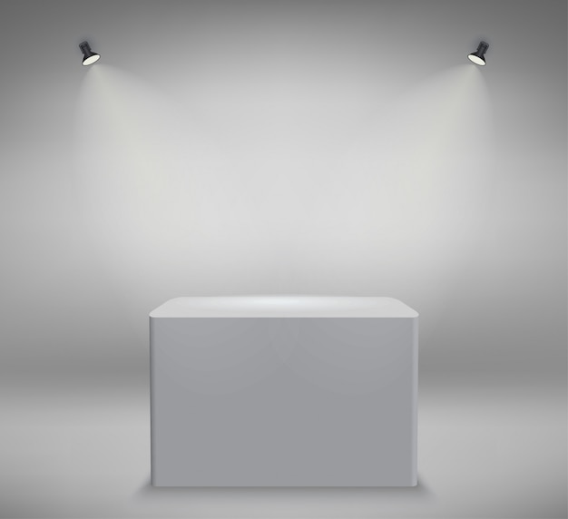 Productpresentatie podium, wit podium, leeg wit voetstuk
