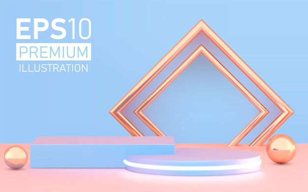 Productpresentatie, show cosmetische productvertoning, podium, podiumvoetstuk of platform.