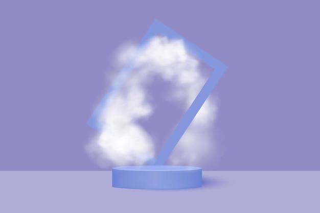 Productpresentatieplatform. minimalistische pastelkleur rond podium tussen witte mist.