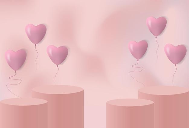Productreclame podium met valentijnsdag liefde ballonnen