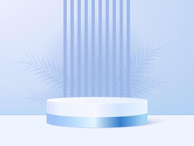 Productvertoningstribune op blauwe pastelkleurachtergrond met schaduwbladeren.