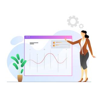 Professionals die grafieken analyseren premium vector