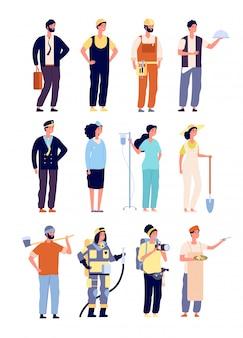 Professionals karakters. politieagent en brandweerman, dokter en stewardess, kunstenaar en muzikant, bouwer. dag van de arbeid karakters