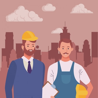 Professionals werknemers koppelen lachende cartoons