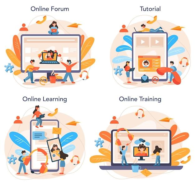 Professioneel advies online service of platformset. idee van strategiemanagement en probleemoplossing. online forum, tutorial, leren, training.