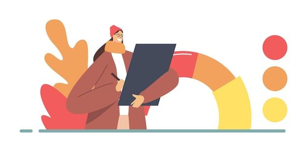 Professioneel artiest of ontwerper vrouwelijk personage met tablet in handen kies kleuren uit het herfstkleurenpalet voor ontwerpproject, schilderen, typografiedruk. cartoon mensen vectorillustratie