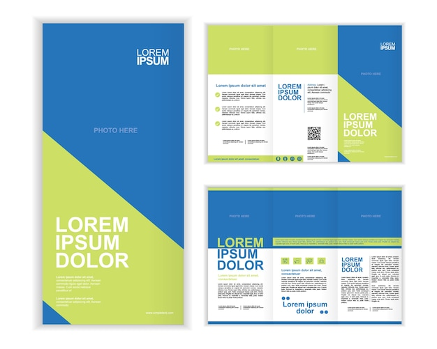 Professioneel bedrijf drievoudig brochuremalplaatje