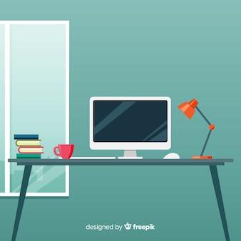 Professioneel bureau met plat ontwerp