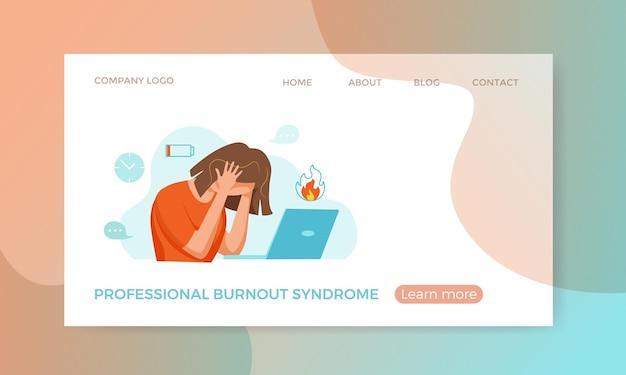 Professioneel burn-outsyndroom uitgeputte vrouw moe zittend op haar werkplek in kantoorholding
