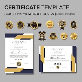 Professioneel certificaatontwerp met badge