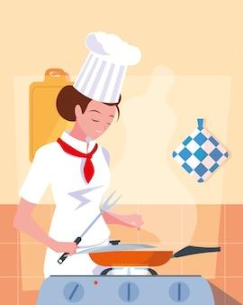 Professioneel chef-kokwijfje in keuken het koken