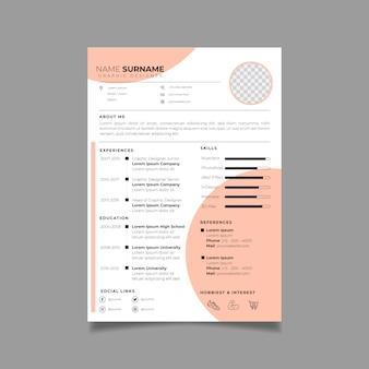 Professioneel cv ontwerpsjabloon met minimalistische stijl