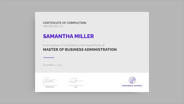 Professioneel eenvoudig mba-certificaat