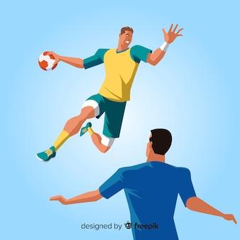 Professioneel handbalspeler qith plat ontwerp