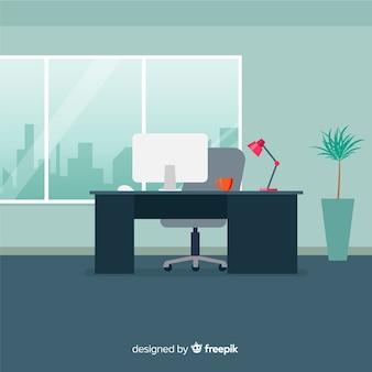 Professioneel kantoorinterieur met plat ontwerp