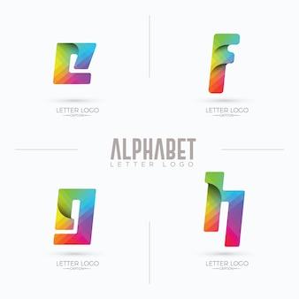 Professioneel kleurrijk educatief curvy origami branding efgh logo