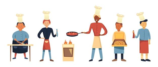 Professioneel kookconcept, restaurantpersoneel, chef-kok tekenset. aantal koks in uniform met culinaire hulpmiddelen tijdens de bereiding van gerechten.