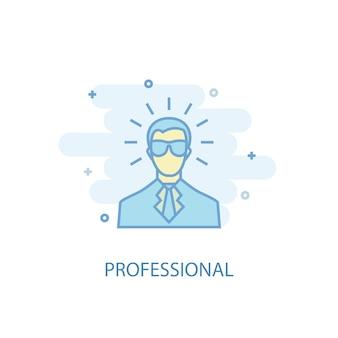 Professioneel lijnconcept. eenvoudig lijnpictogram, gekleurde illustratie. professioneel symbool plat ontwerp. kan worden gebruikt voor ui/ux