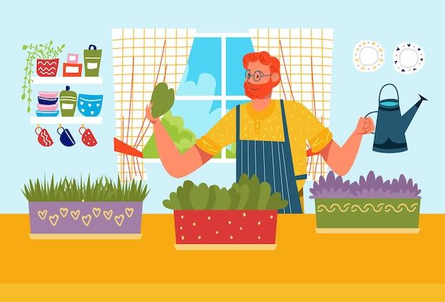 Professioneel mannelijk vrolijk karakter water geven en zelfgemaakte planten kweken