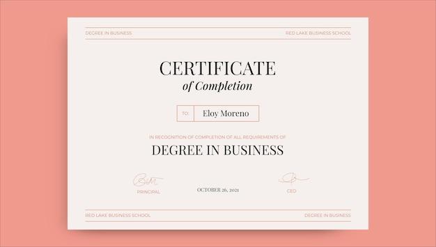 Professioneel minimalistisch eloy-certificaat voor bedrijfsstudies