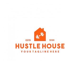 Professioneel sportschool huis logo ontwerp