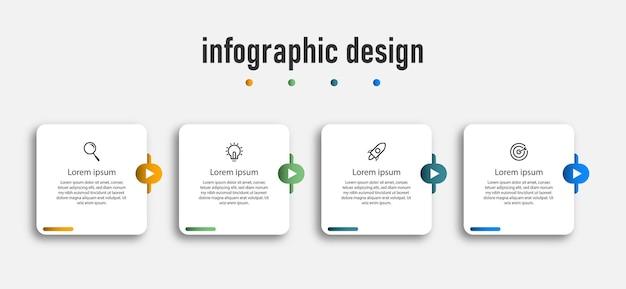 Professioneel stappen tijdlijn infographics ontwerp