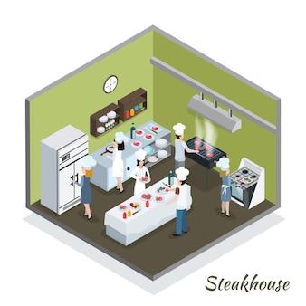 Professioneel steakhouse keuken interieur isometrisch Gratis Vector